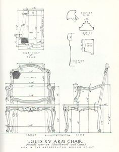 Measured drawing of rococo chair from Salomonsky 'Masterpieces of Furniture'