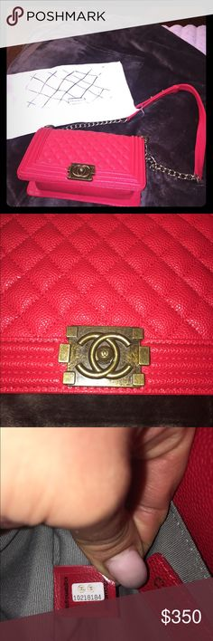 Red Chanel crossbody Red Chanel style crossbody bag, comes with dust bag. Used lightly but in amazing condition! No flaws, rips, scratches, or marks. Hardware is gold.                                            Please note: this is a S T Y L E bag.              Size: 10in X 6.5in X 3in Bags Crossbody Bags