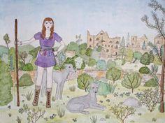 Original Drawing Girl With Greyhounds por PearlsRoom en Etsy, $75.00