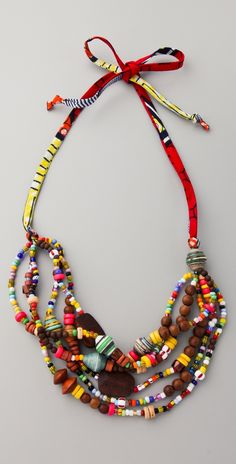 "Necklace | Bluma Project ~ handcrafted by women artisans in Ghana.  ""Kayah"", Wooden, glass, and lacquered paper beads with printed cotton"