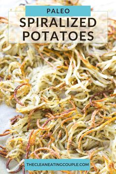 Paleo Spiralized Potatoes are an easy, healthy side dish that go with any meal! Baked until perfectly crispy, whole30, vegan, paleo friendly and so delicious! This is one of my favorite recipes- learn how to make the best crispy potatoes! Easy Clean Eating Recipes, Healthy Vegetable Recipes, Healthy Gluten Free Recipes, Vegetarian Recipes, Healthy Sides, Healthy Side Dishes, Side Dish Recipes, Spiral Potato, Sweet Potato Dishes