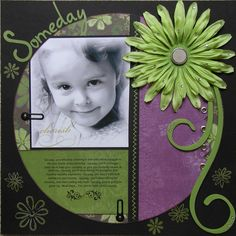 Darling Little Girl's Page...with dark background & brightly colored circle & flower.