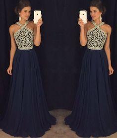 2017 Prom Dress,Navy Prom Dress,A Line Prom Dress,Sexy Evening Dress,Chiffon Prom Dress,Prom Dress Backless