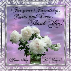 Thank you for your friendship, care and love... friendship quote flowers…