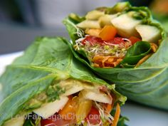 How To Make Raw Vegan Veggie Collard Wrap Sandwich (SUPER QUICK EASY MEAL) - use any veggies, radish, jicima, avo, carrots, sprouts, cabbage, peppers and for a quickie just dress with lemon or lime, salt & pepper & cayenne or cumin