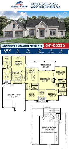 How much do you love this 2,199 sq. ft. Modern Farmhouse? Plan 041-00236 outlines 3 bedrooms, 2 bathrooms, split bedrooms, a kitchen island, an open floor plan, and a bonus room. #modernfarmhouse #farmhouse #openfloorplan #architecture #houseplans #housedesign #homedesign #homedesigns #architecturalplans #newconstruction #floorplans #dreamhome #dreamhouseplans #abhouseplans #besthouseplans #newhome #newhouse #homesweethome #buildingahome #buildahome #residentialplans #residentialhome One Level House Plans, Small House Floor Plans, Basement House Plans, House Layout Plans, Bedroom House Plans, House Layouts, Open House Plans, Small Cottage House Plans, Small Cottage Homes