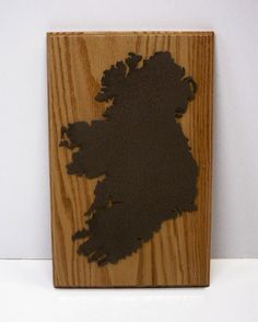 Laser Cutout of Ireland Mounted on Oak Hardwood. by tomroche on Etsy