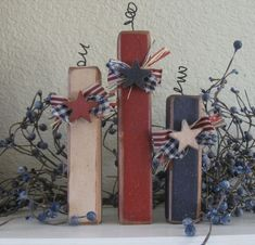 Summer Decor-Primitive Americana Firecracker Trio by jordan