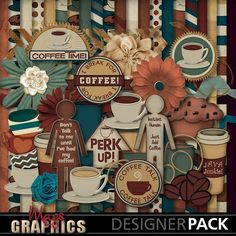 COFFEE TALK Kit - also available are the Alpha, Borders, Journal Cards, and Word Art Packs!  Find it at MagsGraphics.com, WithLoveStudio.net, and at MyMemories.com!