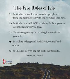 The FIVE Rules of Life | Positive Outlooks Blog