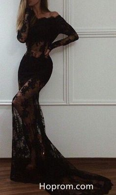 Long Sleeve Evening Gowns, Prom Dresses Long With Sleeves, Black Prom Dresses, Women's Evening Dresses, Sexy Dresses, Dress Prom, Dress Long, Prom Gowns, Lace Dresses