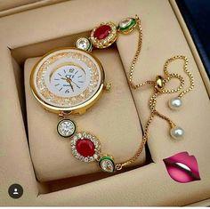 Checkout this hot & latest Watches Stylish Kundan Bracelet Wrist Watch Materia - Uhren - Best Kids Watches, Fancy Watches, Trendy Watches, Latest Watches, Amazing Watches, Elegant Watches, Beautiful Watches, Vintage Watches, Wrist Watches