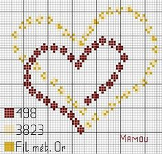Double hearts x-stitch Wedding Cross Stitch, Cross Stitch Heart, Cross Stitch Cards, Cross Stitch Flowers, Cross Stitching, Cross Stitch Embroidery, Embroidery Patterns, Hand Embroidery, Crochet Patterns