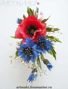 Летняя бутоньерка Мак и васильки. Нарядная бутоньерка для платья, сарафана, шляпы и т.д. Можно эти цветы выполнить для интерьера.