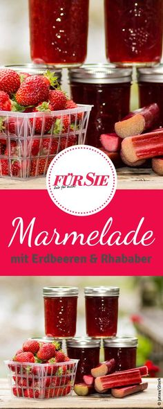 Fruchtige Erdbeer-Rhabarber-Marmelade mit der Süße der Erdbeeren und der leicht säuerliche Geschmack des Rhabarbers. Das Rezept dazu findet ihr bei uns!