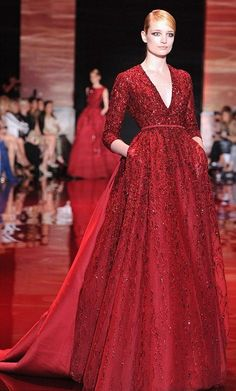 Couture Week Fugs and Fabs: Elie Saab Elie Saab: Runway - Paris Fashion Week Haute-Couture F/W Haute Couture Style, Couture Week, Fashion Week Paris, Runway Fashion, Fashion Show, Fashion Outfits, Elie Saab Couture, Gowns With Sleeves, Couture Collection
