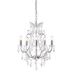 This chandelier is a perfect piece for the dining room. Designed with a polished chrome frame, it features woven crystal beaded chains which capture the light beautifully. It can be used with dimmer switches to allow the light level to be adjusted to suit the ambience of the room.