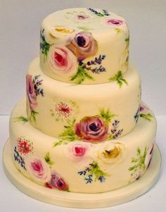 Vintage Painted Floral Cake . I want to eat it at s tea party!!
