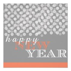 I'm always late on Christmas Cards...Orange Happy New Year Grey Bright Lights Card