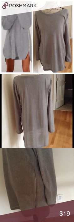 """✨Gray Tunic Sweater/Dress✨NWOT ✨Cute Sweater/Dress✨Side Zippers✨Approx. 22"""" measured armpit to armpit ✨ Approx. 30"""" in length measured from back nape of neck to hem✨Approx. 27"""" measured from front top to hem✨Sheer*tried to capture in pic*✨Size XL but runs smaller Sweaters"""