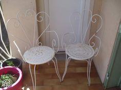 Chaises de jardin en fer forgé blanches