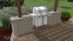 """Gorgeous Grill Station for Grills up to 63"""" Wide.  Easy Stack and Glue Installation.  Download Installation Plans at MyPatioDesign.com"""