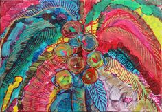 """Just Fronds, 5"""" x 7"""" mixed media by Rea Kelly."""