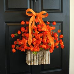 summer wreath chinese lantern wreaths for front door burlap bow welcome wreaths front door decorations, floral container, home living, decor housewares   This listing is for beautiful orange chinese lantern wreath arrangement. The perfect front door or wall decor, wedding decorations. A great gift for Fall, Home Decor, Birthday...  This arrangement is made with faux Chinese lantern, birch bark container, it is finish with bow and ribbon for a perfect finishing touch.  WREATH SIZE…