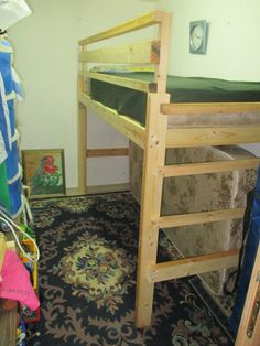 Homemade Loft Bed- with storage for spare mattress beneath- Sneak Peak | Penniless Parenting