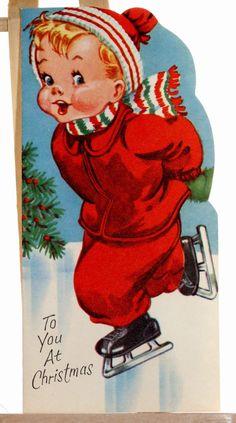 Vintage Greetings Card Skating to You at Christmas