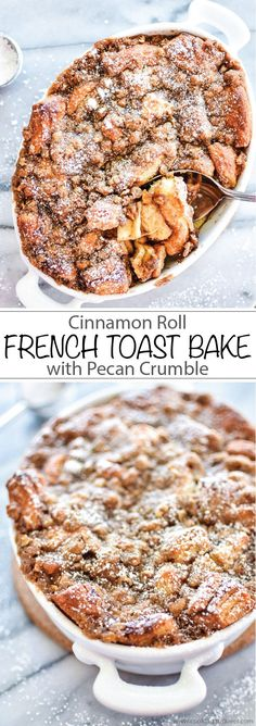 Cinnamon Roll French Toast Bake with Pecan Crumble #breakfast #breakfastideas | www.cookingandbeer.com #WarmUpYourDay #ad