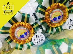 Specialized event leis for the Philippine Coast Guard Marine Environmental Protection Command Ribbon Lei, Graduation Leis, Personalized Ribbon, Dental Services, Gold Ribbons, Brocade Fabric, Dog Show, Coast Guard, Handmade Crafts