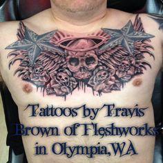 #Fleshworks#TravisBrown#Olympia#WA #tattoo #tattoos #love #ink #inked #Instagood#tattooed#follow#tattooist#coverup#art#design #photooftheday#like #instagood #sleevetattoo #handtattoo #chesttattoo #photooftheday #tatted #instatattoo #bodyart#tats#skull#roses