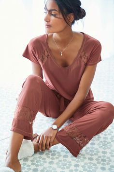 c25e9f8b32c4 Buy Pink Lace Detail Pyjamas from the Next UK online shop Womens Pjs