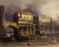 Old London Bridge in 1745 by Joseph Josiah Dodd. Bridge construction was  finished in 1209, being 8metres wide & supported by 19 arches. Over time, London Bridge became increasingly crowded & unsafe with fire being the most common hazard. By the 1500s the buildings on the bridge reached up to seven stories high & hung over the river. By the 1700s, common sense and health and safety took control. Between 1758 and 1762, all of the buildings on the bridge were demolished.