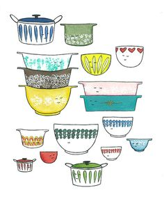 Print - Retro Kitchen Bowls Mixed Media Artwork by CharmingShopLove on Etsy Diy Artwork, Mixed Media Artwork, Vintage Kitchen, Vintage Pyrex, Kitchen Collection, Food Illustrations, Artsy Fartsy, Retro, Prints
