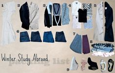 Winter Study Abroad Packing List although I'll be in Ireland Fall and a little winter