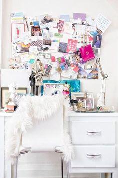 Workspace. Inspiration board. White.