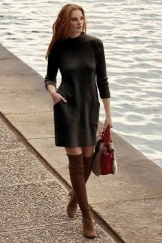 Boiled Wool Mock-Neck Dress