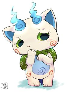 from Youkai Watch Koma-san Yo Kai Watch 2, Watch Fan, Cartoon Games, Manga Games, Nintendo 3ds, Kawaii Illustration, Digimon, Power Rangers, Game Art