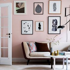 Dusty Pink Walls home decor mid century home decor painted walls colorful rooms pink wall ideas bright living spaces pastel wall color pink living room wall My Living Room, Home And Living, Living Room Decor, Living Spaces, Pink Living Rooms, Blush And Grey Living Room, Pastel Living Room, Art Spaces, Room Inspiration