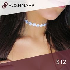 """White Flower Choker 🌸 Handmade 🌸 12"""" with extender that extends to 15"""" ❌ No trades ❌ No offers on this particular item. Please bundle if you want a discount, check my closet discount for current bundle deals. Jewelry"""