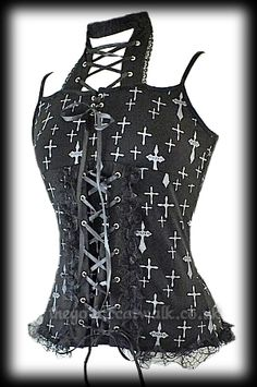 Black Gothic Punk Vest Top with Grey Cross Design