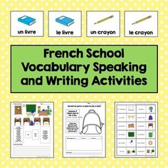 French School Vocabulary Speaking and Writing Activities #frenchlearning #frenchteaching