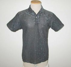 Vintage 1950s Black Shirt With Silver Lurex Threads By Penney's Towncraft - Size S by SayItWithVintage on Etsy