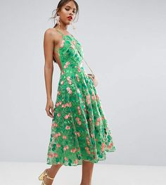 #ad. ASOS Tall ASOS TALL SALON Floral Embroidered Backless Pinny Midi Prom Dress#ad