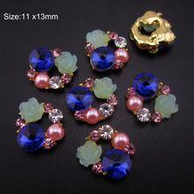 10pcs Rose Cluster Nail Art Charms Mixed Rhinestones Pearls and Resin 3D Nail Decorations Gold Tone AM118(China (Mainland))