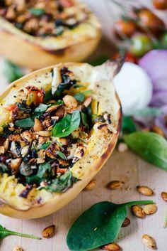 Spinach, Tomato & Goat Cheese Stuffed Spaghetti Squash | bsinthekitchen.com #squash #healthy #bsinthekitchen