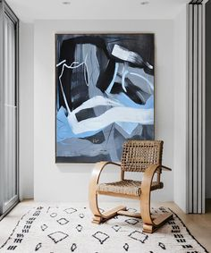 Vertical Minimalist Painting  #XB113B, Hand painted minimal art on canvas, blue, black, white, grey, by CZ Art Design @CelineZiangArt