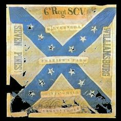 The 6th South Carolina Volunteer Infantry Regiment battle flag is the unit's first Confederate issue, 1861 battle flag, which is on display in the Confederate Relic Room in Columbia.